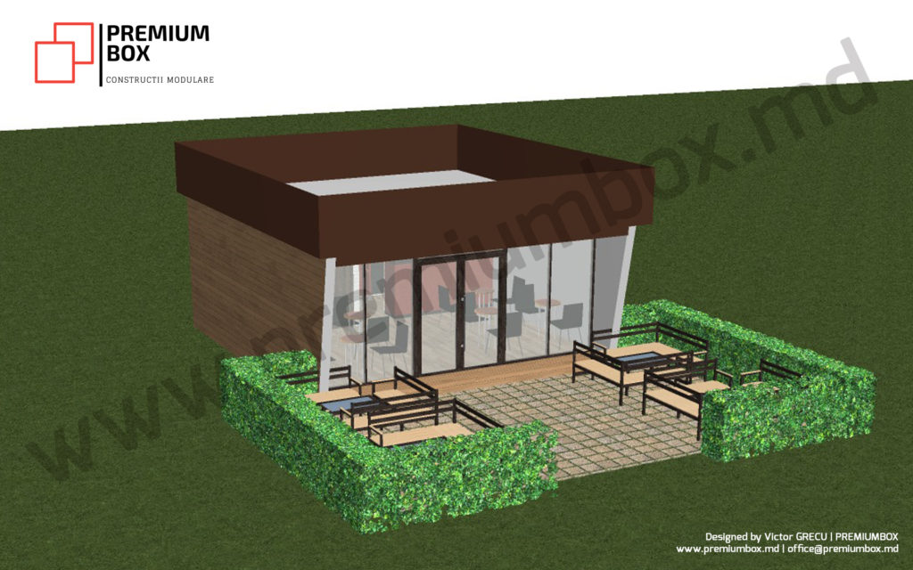 Constructie din container modular din structura metalica